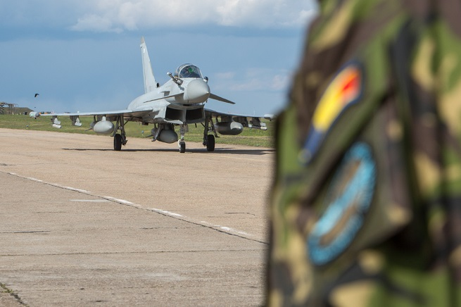 Mihail Kogălniceanu 24 April 2017 - Four Royal Air Force Typhoon aircraft arrived at Romanian Mihail Kogălniceanu Air Base today. For the next weeks they will conduct NATO Air Policing together with the Romanian Air Force. More to follow… Photo OR-7 Christian Timmig, HQ AIRCOM PAO